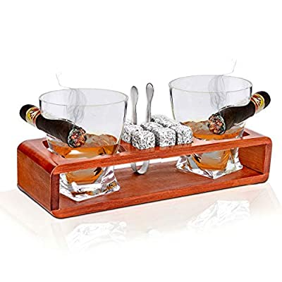 Bezrat Old Fashioned Whiskey Glasses With Side Mounted Holder Gift Set - + Whisky Chilling Stones and accessories on Wooden Tray - Scotch Bourbon Glasses – Granite Chilling Rocks