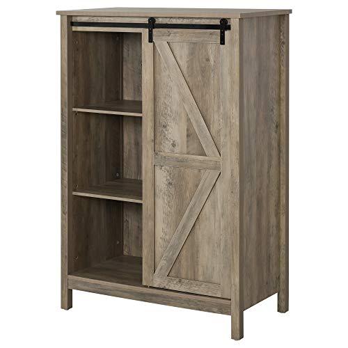 HOMCOM Rustic Storage Cabinet Home 3-Tier Organizer with Barn Door, Adjustable Shelf Freestanding Furniture, Vintage Grey Wood Color