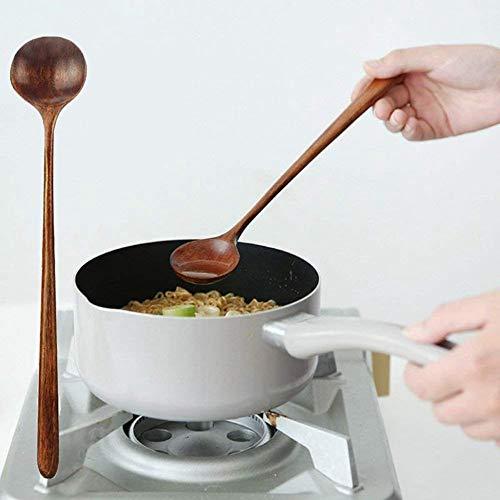 WLKK 1pc Cucharas largas Estilo coreano de madera 10.9 pulgadas 100% de madera natural Cucharas redondas de mango largo para cocinar en sopa Mezclador