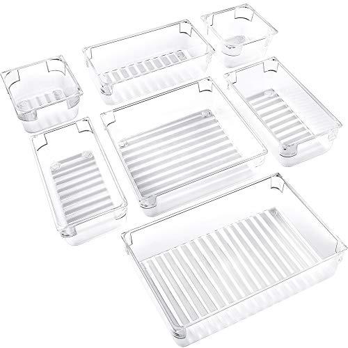 IPOW 7-Piece Desk Drawer Organizer Trays 4-Size Versatile Plastic Bathroom Organizer Drawer Dividers Storage Bins Vanity Trays for Bedroom Dresser Makeup Bathroom Kitchen Utensil Office