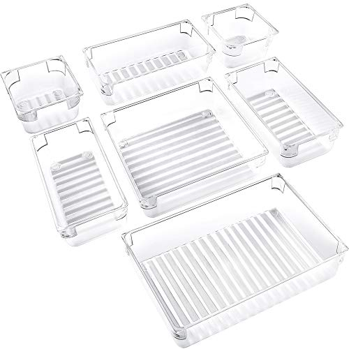 IPOW 7Piece Desk Drawer Organizer Trays 4Size Versatile Plastic Bathroom Organizer Drawer Dividers Storage Bins Vanity Trays for Bedroom Dresser Makeup Bathroom Kitchen Utensil Office