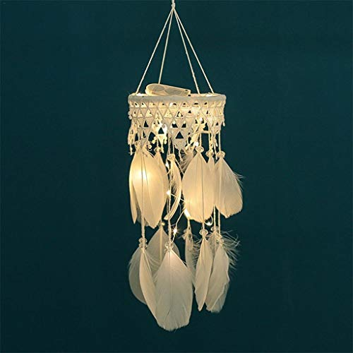 Yousiju Lace Lantern Illuminate Dreamcatcher Hanging Ornament Feather Wind Chimes Dream Catcher Pendant Room Decoration