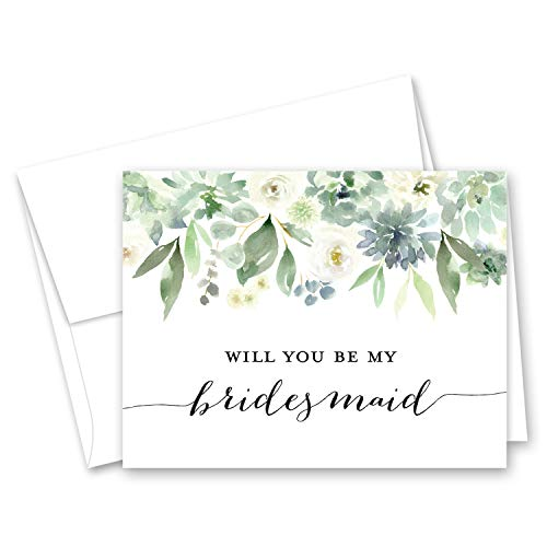 White Flowers & Greenery Succulent Bridal Proposal - 8 Will You Be My Bridesmaid Cards and 2 Maid of Honor Cards -