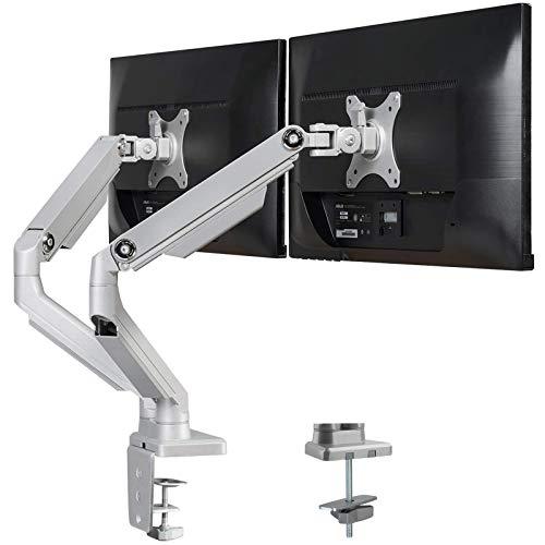 """PUTORSEN® Monitor Halterung 2 Monitore, Monitor Tischhalterung Mechanischfeder - Premium Schwenkbare Neigbare Monitorhalterung für Zwei 17\""""-32\"""" LED LCD Bildschirme - VESA 75x75 100x100mm, 8kg/Arm"""