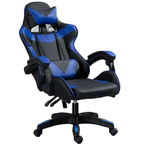 BAIAA Sillas Gaming, Silla de Escritorio Computadora de Oficina en Casa con Soporte Lumbar y Apoyabrazos Acolchados Diseñados Altura Ajustable,ángulo de Inclinación de 90-135 ° (Negro y Azul)
