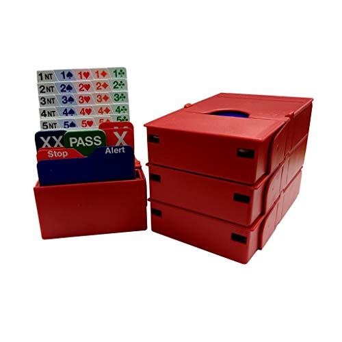 Jannersten Bid Buddy Set aus 4 Boxen zum Reizen mit 4 Bieterkarten, Rot