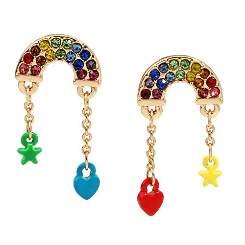Rainbow Charm Mismatch Stud Earrings