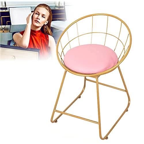 Silla de Maquillaje sillas de Cocina con Patas de Metal Respaldo de Arte de Hierro Altura del Asiento 45 cm Taburete de Comedor Resistente Taburete de tocador nórdico de Dormitorio