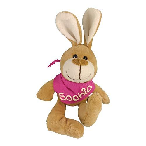 Kuschelhase mit Namen am pinkem Halstuch - Kuscheltier Hase personalisiert - Personalisiertes Kuscheltier - Personalisiertes Ostergeschenk - Stofftier mit Wunschbeschriftung für Mädchen