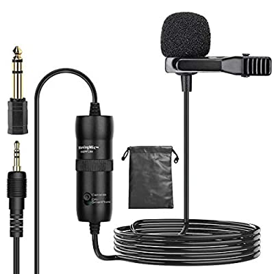 Clip on Microphone Sendowtek Lavalier Microphone with 20ft Cable Hands Free Omnidirectional Condenser Lapel Mic 3.5mm for Android Mobile Phone Camera Video Recording Podcast Live Broadcast