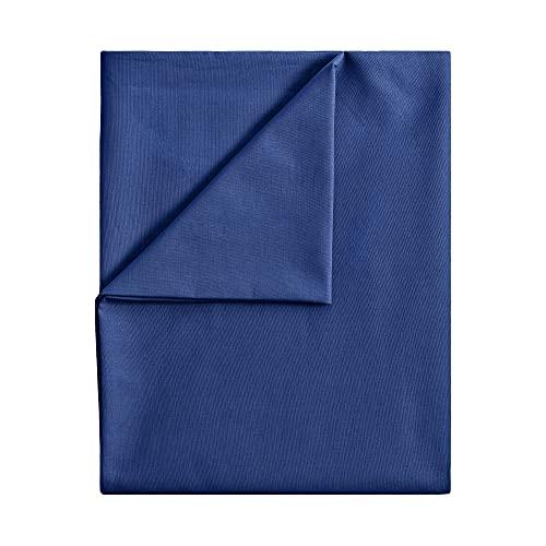 leevitex® Bettlaken ohne Gummizug Baumwolle | Betttuch | Laken | Leintuch | Haustuch | Große Auswahl an Farben & Größen | MARKENQUALITÄT | Navy Blau / Marine, 150 x 250 cm