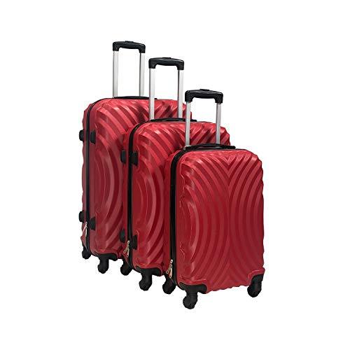 Totò Piccinni Set Valigie Trolley Ibiza con guscio rigido di ottima qualità con 4 rotelle pivotanti (Rosso, Set 3 Valigie)