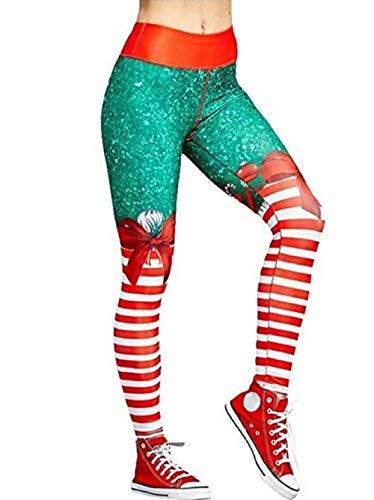 OEAK Damen Weihnachten Leggings Weihnachtsmann Vintage Jeggings Hohe Taille Weihnachtsstil Christmas Strumpfhose mit Digitaldruck Stretch Dünn Yoga Legging