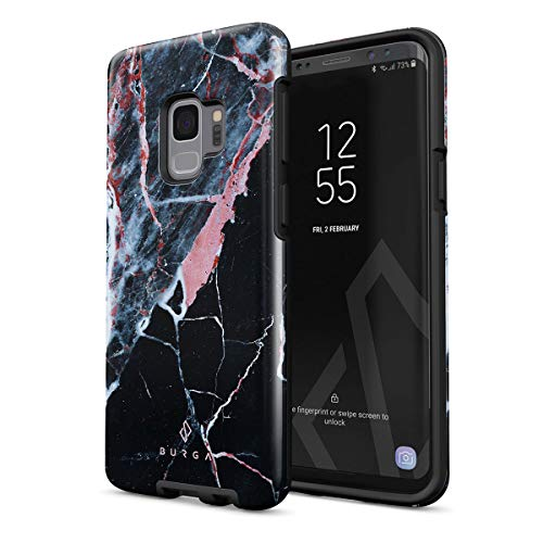 BURGA Phone Case Compatible with Samsung Galaxy S9 - Hidden Beauty Light Pink Peach and Black Marble Cute Case for Woman Heavy Duty Shockproof Dual Layer Hard Shell + Silicone Protective Cover