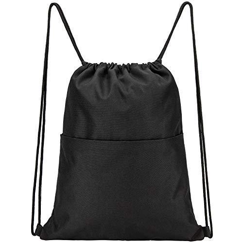 Vorspack Drawstring Backpack Water Resistant String Bag Sports Sackpack Gym Sack with Side Pocket for Men Women - Black