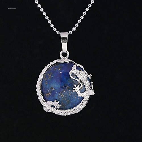 YOUHU Collares Pendientes De Piedra,Unisex Fashion Dragon Wrap Natural Lapis Lazuli Colgante De Piedras Preciosas Cadena De Cuentas De Plata De Moda Encantos Joyería Niñas