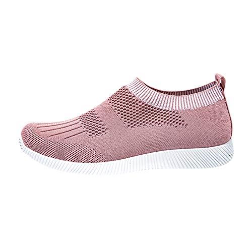 DAIFINEY Damen Freizeitschuh Sneaker Mesh Leichte Modische Turnschuhe Freizeit Atmungsaktiv Sportlicher Trainingsschuh Sportschuhe Laufschuhe(1-Pink/Pink,37)