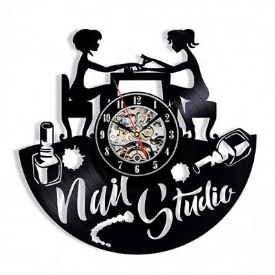 qweqweq Estudio de Tatuajes Reloj de Pared diseño Moderno máquina de Tatuajes Tienda Disco de Vinilo Reloj de Escritorio Colgante de Pared decoración del hogar Reloj Regalo Hombres