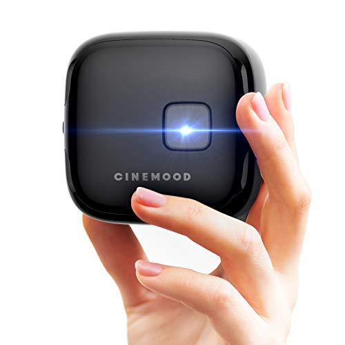 CINEMOOD 360 - Smart wi-fi Cube Projector with Streaming Services, 360° Videos, Games, Kids Entertainment. 120 inch Picture, 5-Hour Video Playtime. Neat Portable Projector for Family Entertainment.
