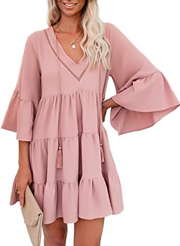 ZKESS Women Summer Long Sleeve Tunic Dress V Neck Casual Loose Flowy Swing Shift Dresses Pink Small
