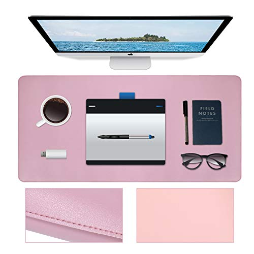 "Desk Mat, Waterproof Office Desk Blotter, Non-Slip Laptop Desk Pad, Dual Sided Desk Writing Mat for Office/Home Decor (Purple/Pink 31.5"" x 15.7"" )"