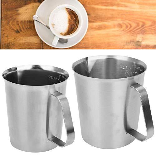 Zerodis Edelstahl Messbecher Milchkaffee Schaumkrug mit Waage Griff für Latte Art Backwerkzeug Teeladen, Restaurant, Küche(1000ML)