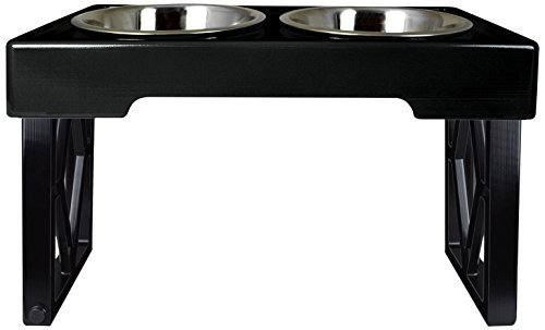 "Pet Zone Designer Diner Adjustable Elevated Dog Bowls – Adjusts to 3 Heights, 2.75"", 8″, 12"" (Raised Dog Dish with Double Stainless Steel Bowls) Black"