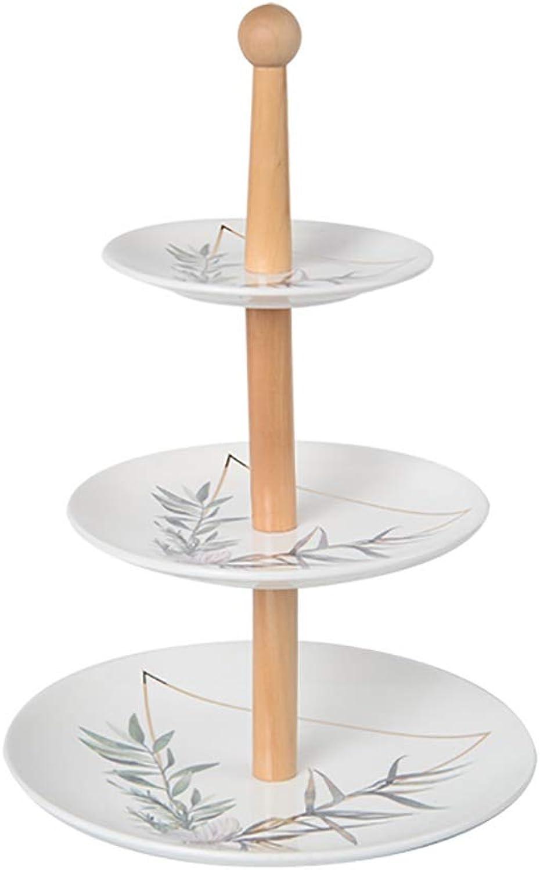 Etagère à desserts - céramique - Ménage - Style européen - Trois étages - Etagère à gateaux - Plateau de fruits - Etagère à thé l'après-midi (Couleur   B)