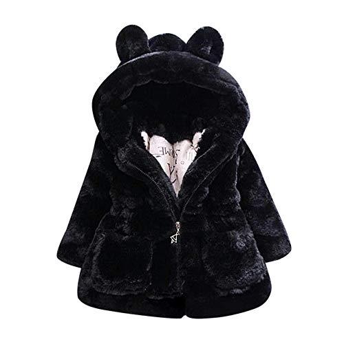 luoluoluo Cappotti e Giacche per Bambina - Ragazze Carino Inverno Cappotto con Cappuccio Mantello Giacca Calda Abbigliamento Capispalla - Cappotto Bimbo Invernale (Nero, 5-6 Anni)