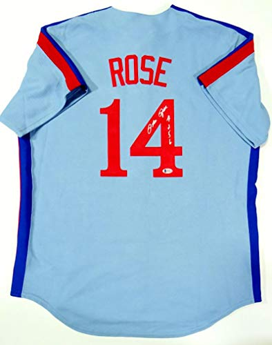 Pete Rose Autographed Montreal Expos Blue Jersey w/ 4256- Beckett Auth Silver