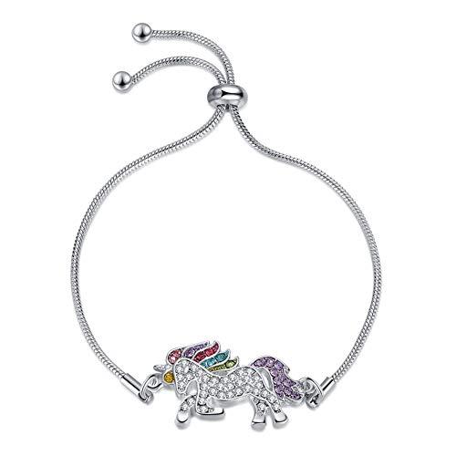 BlueSnow Pulsera de unicornio, regalo para niñas, ajustable, cristal brillante, multicolor, regalo de cumpleaños