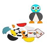 Toyvian Bloques de Patrones de Madera Forma Rompecabezas Tangram Color Clasificación Juego de Apilamiento Madera Animal Rompecabezas Juguete para Niños Pequeños