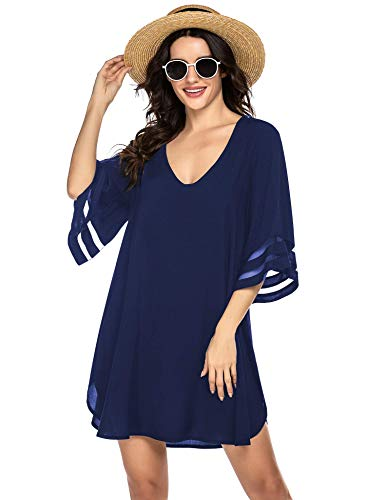 Balance, costume da spiaggia da donna, bikini con copertura e poncho, estivo, tunica 1_blu oltremare XXL