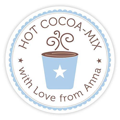 Aufkleber Hot Cocoa | Mit deinem Wunschnamen/Wunschtext | 40mm, rund | 20, 50, 100 oder 200 Stück