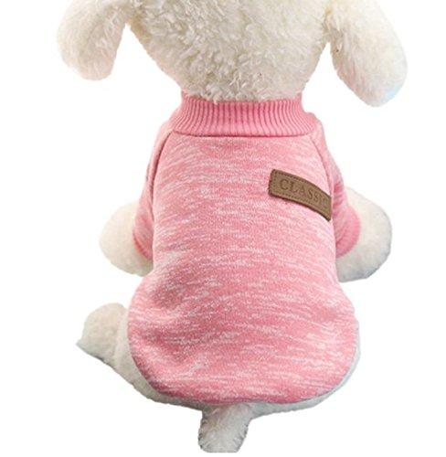 Beauty DIY Mart Caliente Ropa de Perros, Chaqueta Abrigo Cálido Suéter de Algodón de Invierno Otoño Suave para Perros Pequeños Gatos Cachorros Mascotas,Rosa XS