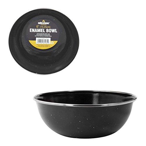 Milestone Camping Enamel Travel Mugs, Plates & Bowls/Ideal For Camping, Hiking, Fishing, Travels & More/Black Colour (Bowl)