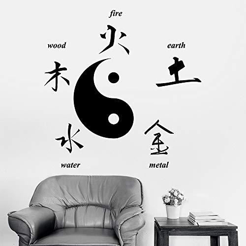 Stickers Muraux Culture Taoïste Chinoise Décor À La Maison Bouddha Signes Chinois Des Éléments Yin Yang Symbole Salon Chambre