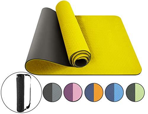 ComFyMat Yogamatte, rutschfeste Gymnastikmatte, Workout-Matte für Pilates, Meditation, Frauen, Männer, Fitness-Matte, 183cmx61cmx6mm (gelb/schwarz)