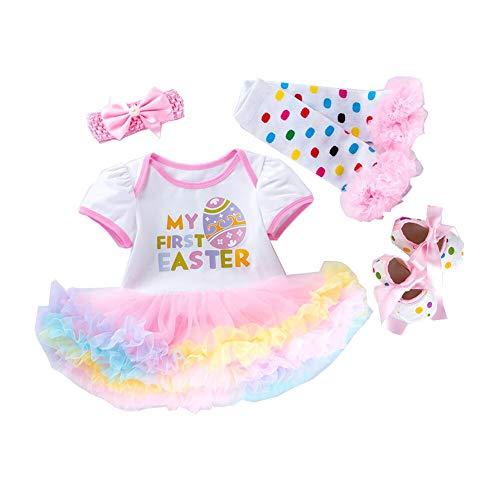 mama stadt Neugeborene Ostern Baby Kleidung Set My First Easter Osterhase Prinzessin Outfits Kurzarm Strampler Tutu Kleid Stirnband Beinwärmer Schuhe Kostüm 4 tlg/66