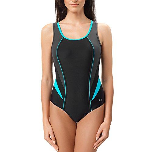 Gwinner Damen Badeanzug Schwimmanzug Ivana, schwarz/grau/türkis, 36