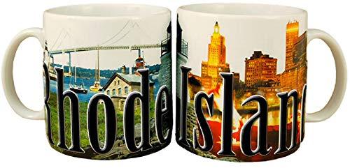 Americaware SMRDI01 Rhode Island Taza de 18 onzas de alivio a todo color