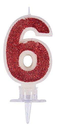 Rayher 31604000 Zahlenkerze 6, rot/glitter, mit Halter, Kuchendekoration für Geburtstage