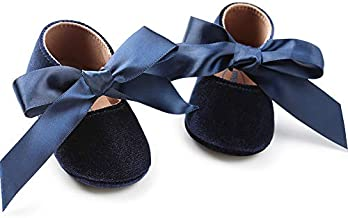 Baby Girls Mary Jane Flats Anti-Slip Rubber Sole Bow Toddler Princess Dress Shoes (4.72 inches (6-12 Months), Y-Navy Blue)