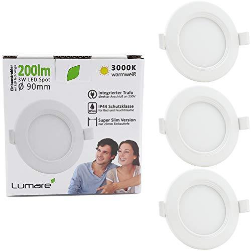 Lumare LED Einbaustrahler 3W 230V IP44 Ultra flach 3er Set Wohnzimmer, Badezimmer Einbauleuchten weiss 29mm Einbautiefe Mini Slim Decken Spot warmweiß