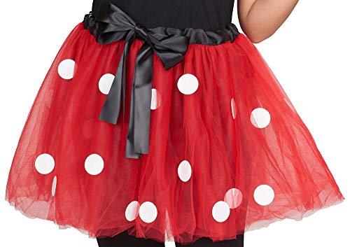 Maus Tutu Tüllrock für Damen - Rot/Weiß - Süßer Kostüm Rock Punkte Fasching Mottoparty