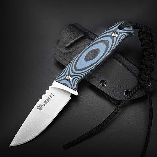 NedFoss Outdoor Messer mit Kydex Holster, Jagdmesser aus einem Stück Stahl gefertigt, bushcraft Messer EDC Messer 9cm Klingenlänge, scharfes fahrtenmesser mit G10 Griff, blau