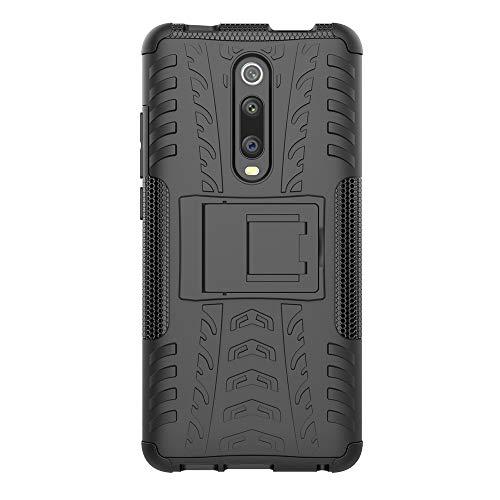 JMstore Cover Compatibile con Xiaomi Mi 9T/9T PRO SchermoVetro temperato,[Staffa] Custodia in Silicone Misto Doppio (Nero)