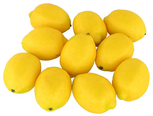 JEDFORE Fake Fruit Home House Kitchen Party Decoration Artificial Lifelike Simulation Yellow Lemon 10pcs Set