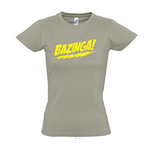 Damen T-Shirt - Bazinga, The Big Bang Theory - Fun Kult Shirt S-XXL, Khaki - gelb, S