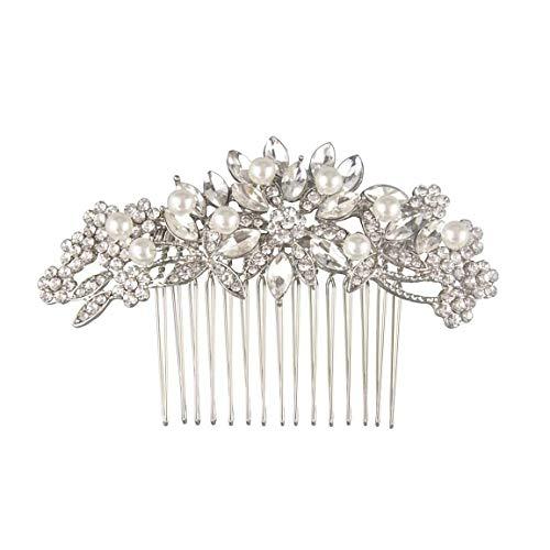 Fairy Moda Vintage Bridal Hair Comb for Wedding Silver Crystal Bridal Hair Pieces Bridesmaids Gifts